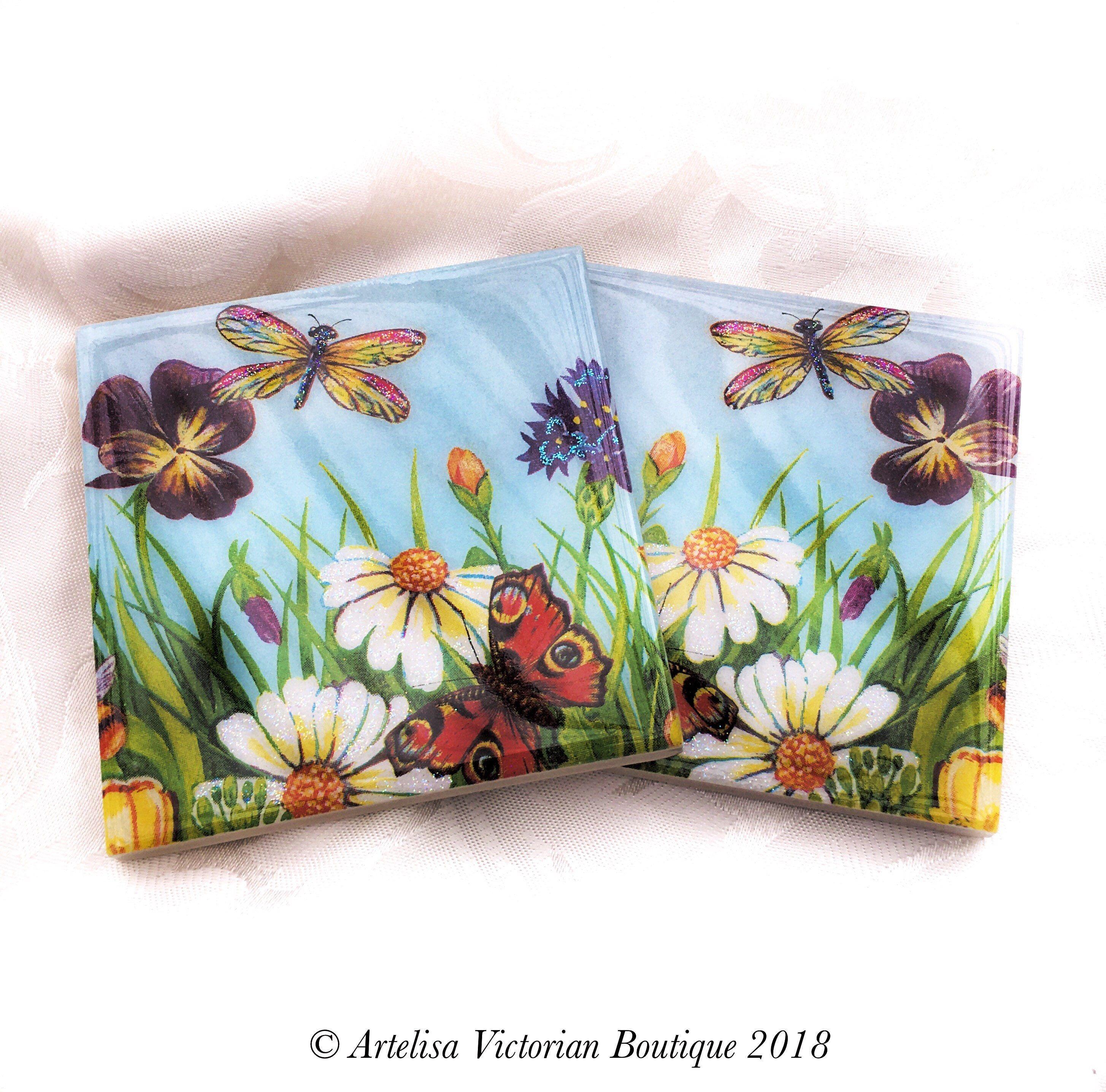 Floral Garden Ceramic Coasters Table Saver Mats Tea