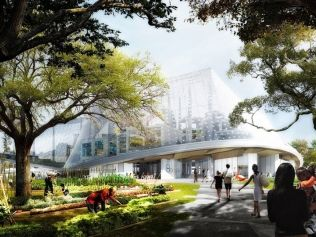 Google's plans for new Mountain View, CA campus. Wow. Video tour & interviews included. No skimping on sci-fi. Designs feature transparent, biodome-like buildings, bike paths, running tracks, meadows and a babbling brook—along with a public plaza with retail space for shops and cafes. Architects Bjarke Ingels at BIG & Thomas Heatherwick at Heatherwick Studio.