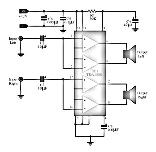 44 Watt TDA1554 Stereo Power Amplifier Audio amplifier