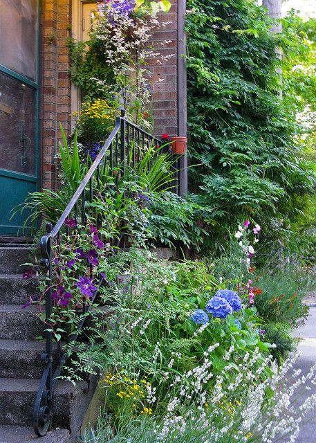 Very small stairway garden