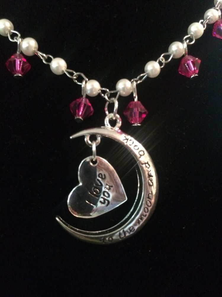 Handmade love you to the moon and back silver and pink 18 inch necklace #Handmade