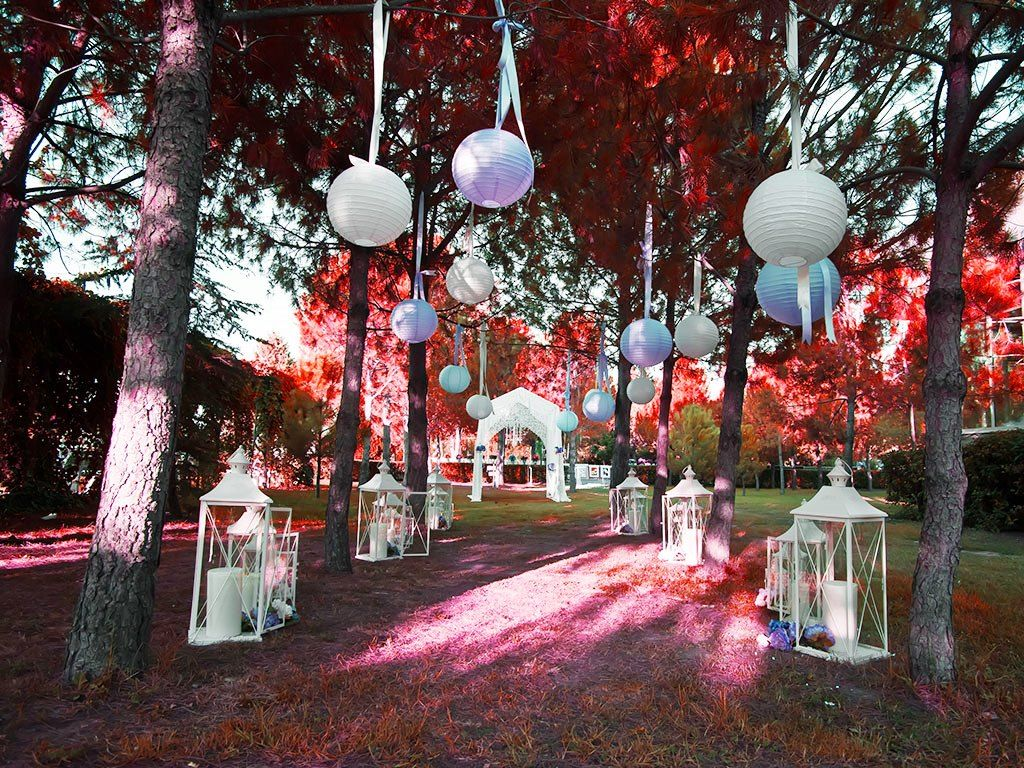 Awesome Garden Party Decoration Ideas: Awesome Garden Party Decoration  Ideas With Purple Lanterns And Glass
