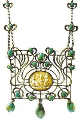 Pendant necklace, c1915, by Marie Bedot-Diodati (1866-1958). Silver, antique Cameo, turquoises set in a closed bezel