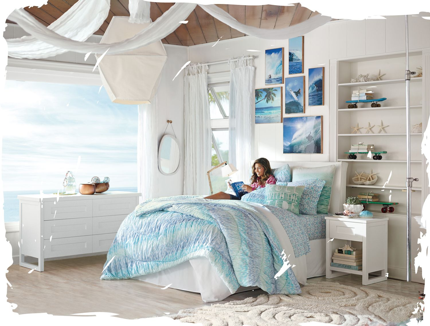 Kelly slater for pb teen bedroom decor inspiration for Blue beach bedroom ideas