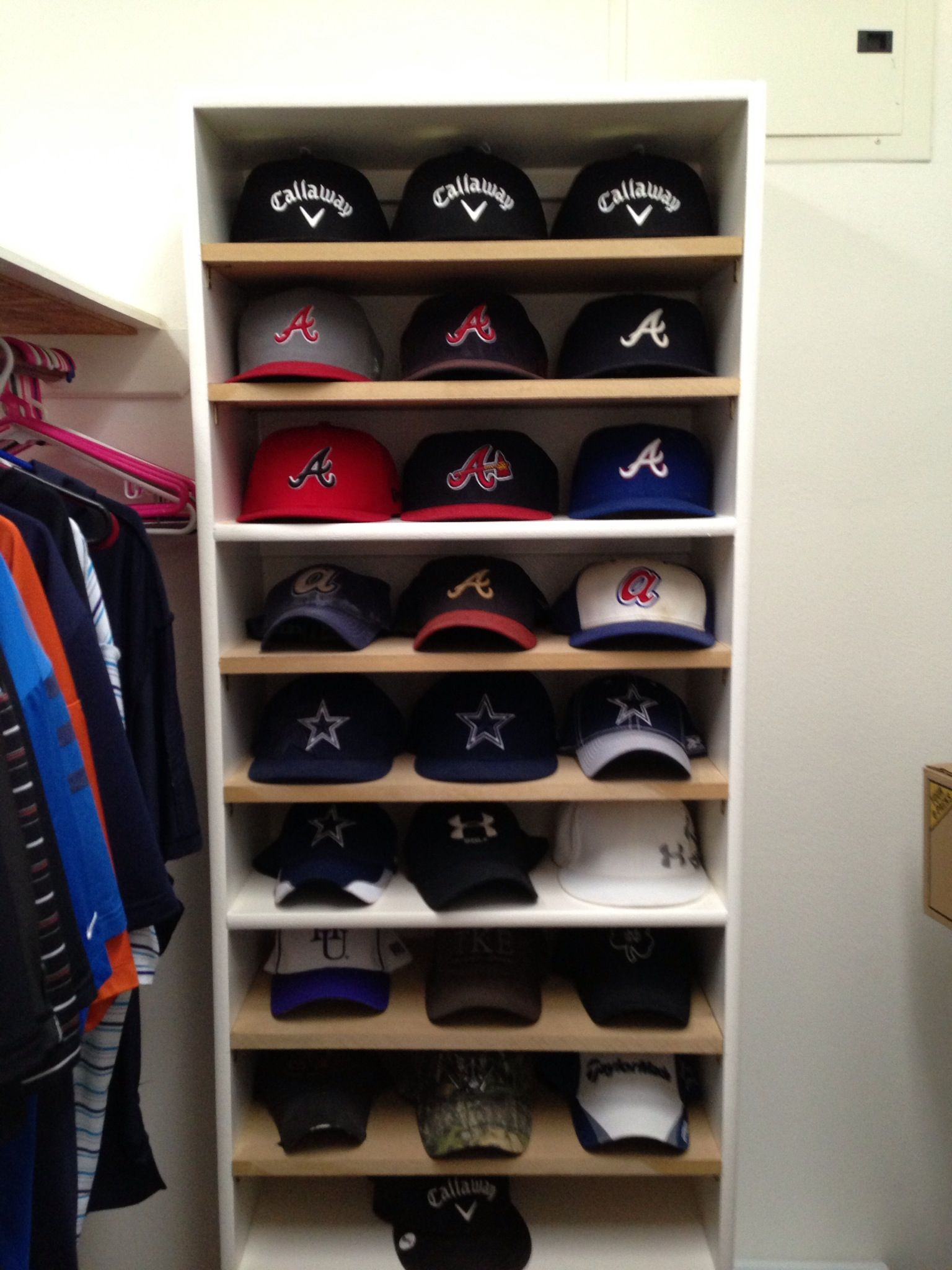 Great Hat Shelf Or Rack For Baseball Caps. Go Braves And Cowboys!
