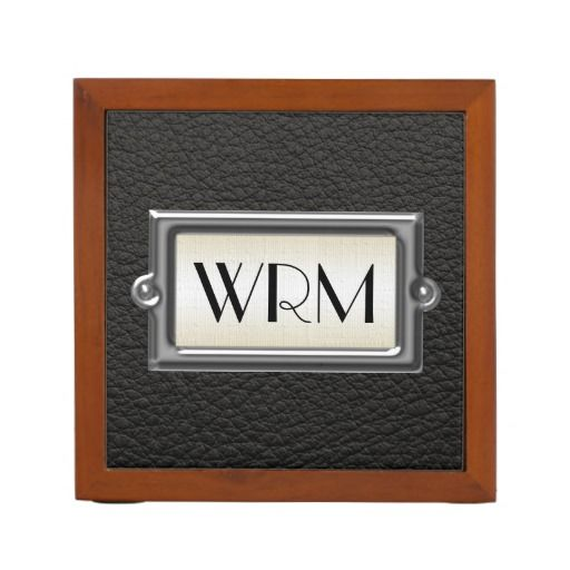Monogrammed 3-Letter Executive Men's Personalized Desk Organizers, great corporate gift