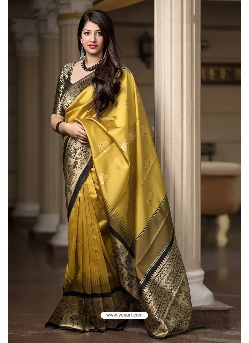 34ff6cdd95fe6 Yellow Banarasi Silk Weaving Patola Silk Designer Saree in 2019 ...