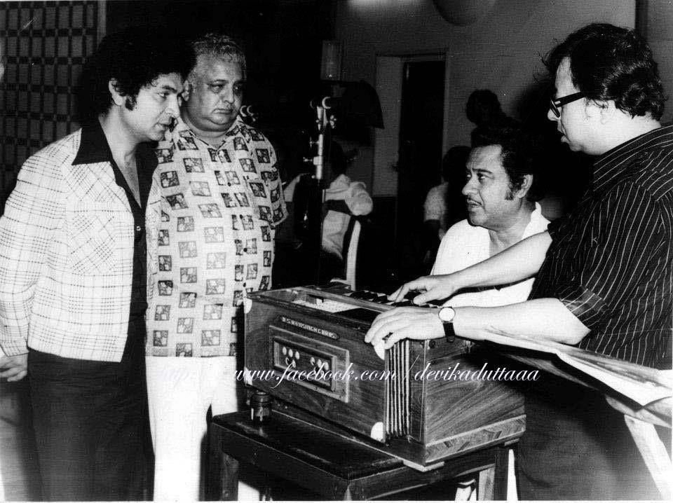 Actor Asrani, Kishore Kumar and R D Burman at the composing