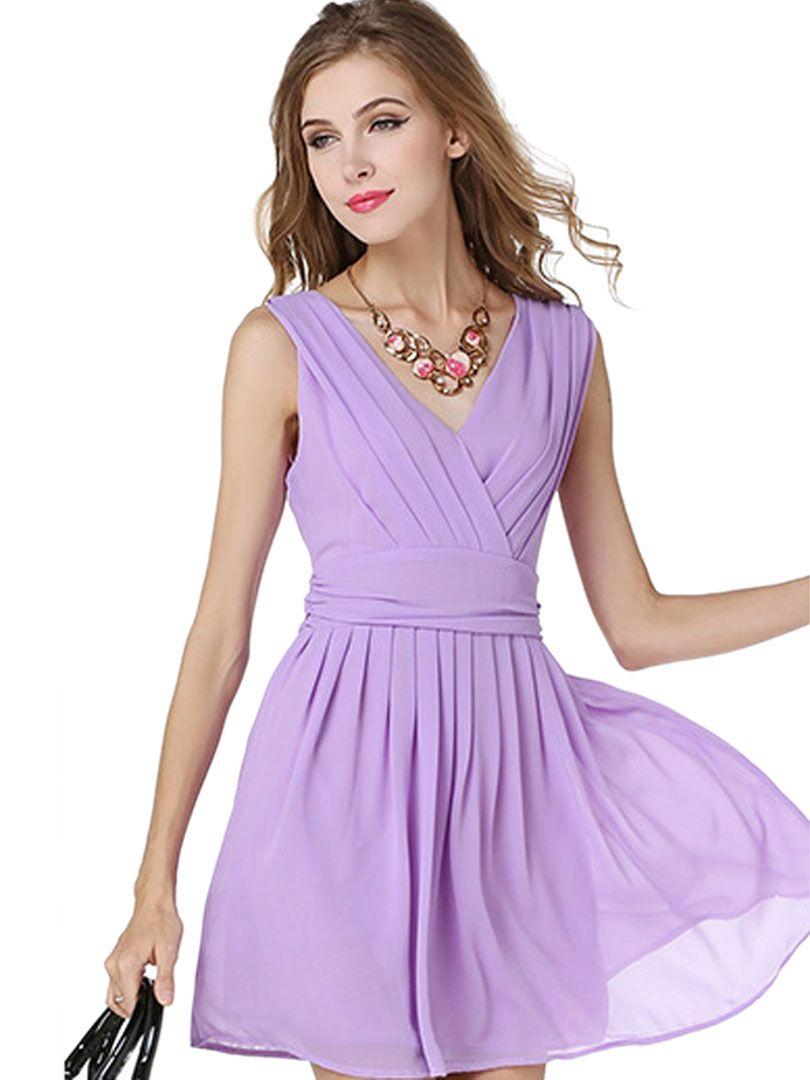 Purple V Neck Sleeveless Chiffon Pleat Wrap Dress Purple Chiffon Dress Summer Dresses For Women Pleated Dress [ 1080 x 810 Pixel ]