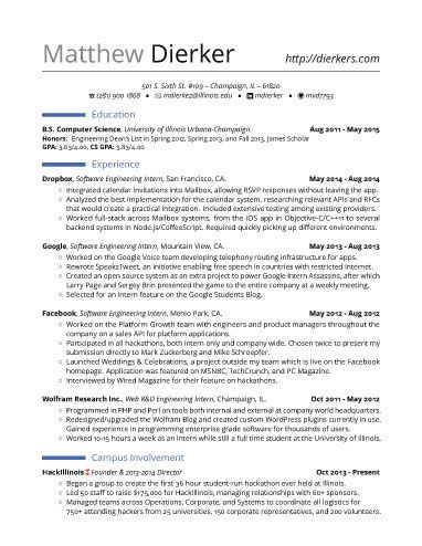 real software engineering internship resume template - Resume For Internship Template