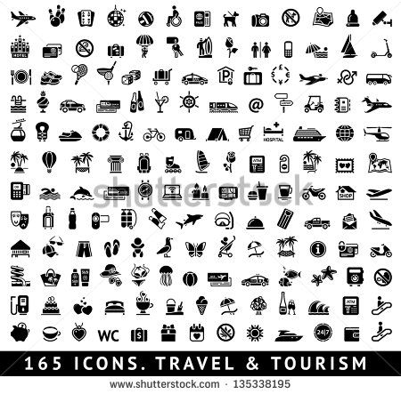 165 Icons Travel Symbols And Tourism Signs Vector Illustration Stock Vector Pictogramme Gratuit Pictogramme Icones Cuisine