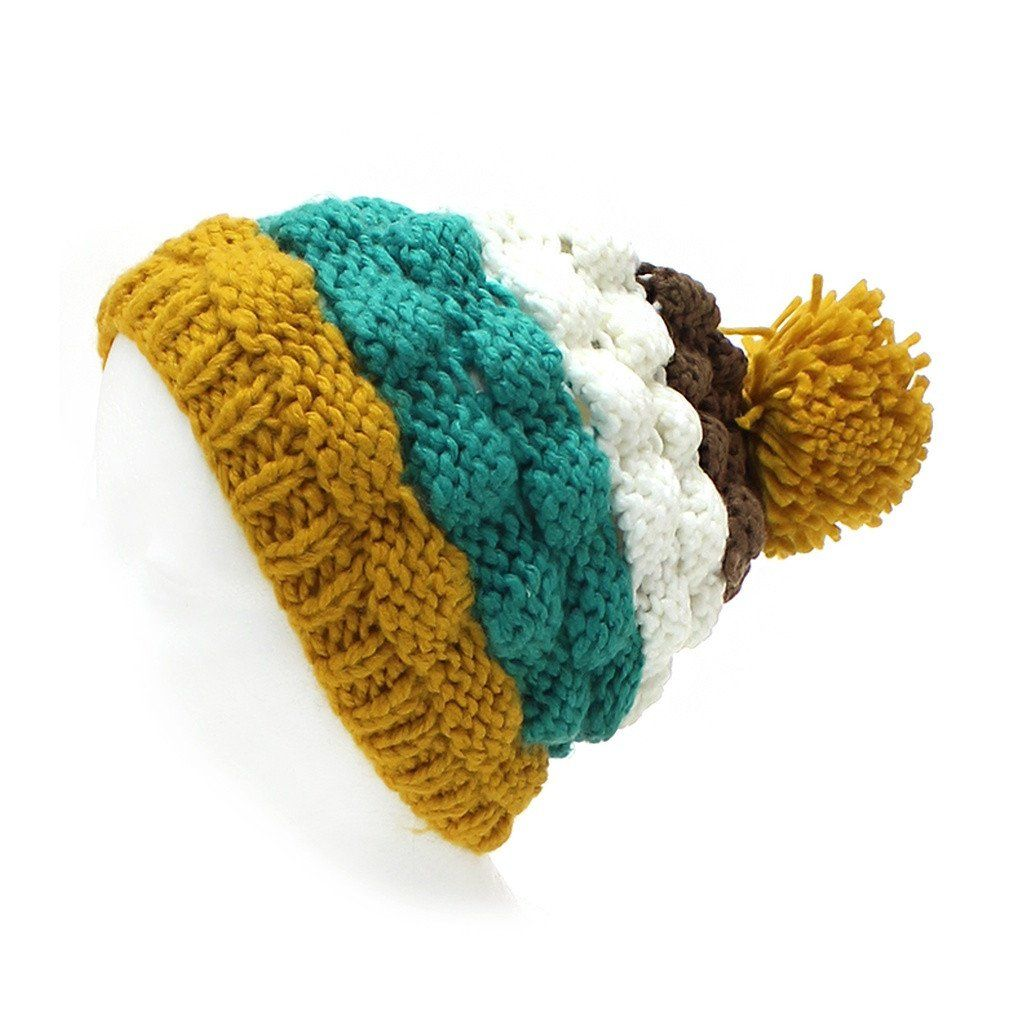Yellow   Teal Striped Pom Pom Hat. Mustard yellow ca81f76f49e