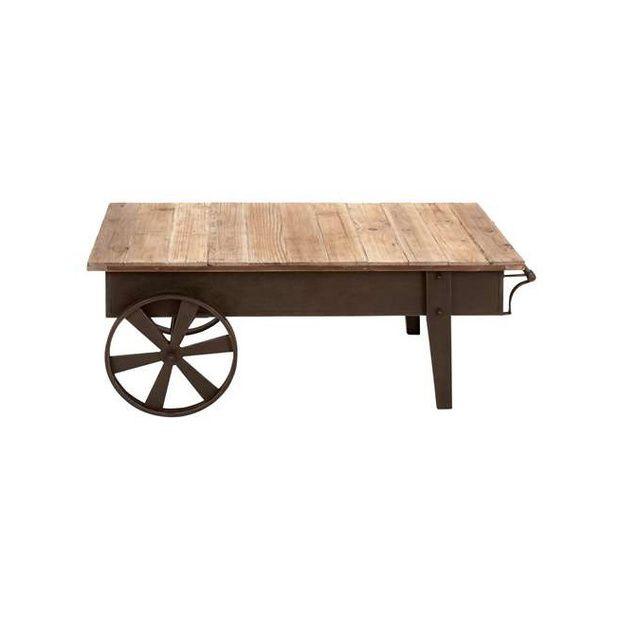 Reclaimed Wood Wagon Wheel Coffee Table