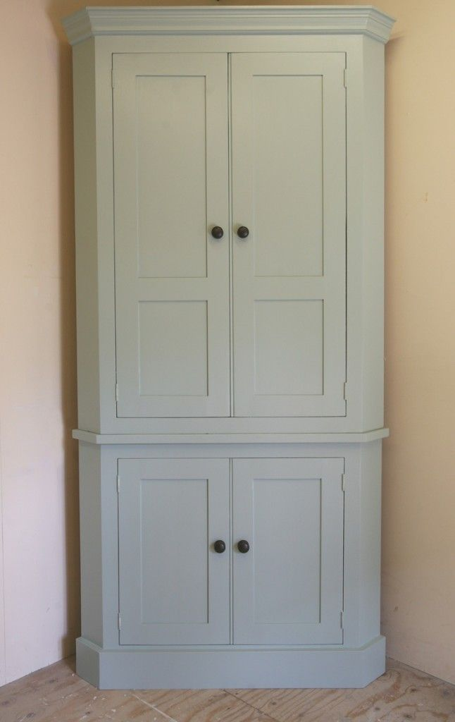 Tall Graded White Kitchen Corner Cabinet With Doors