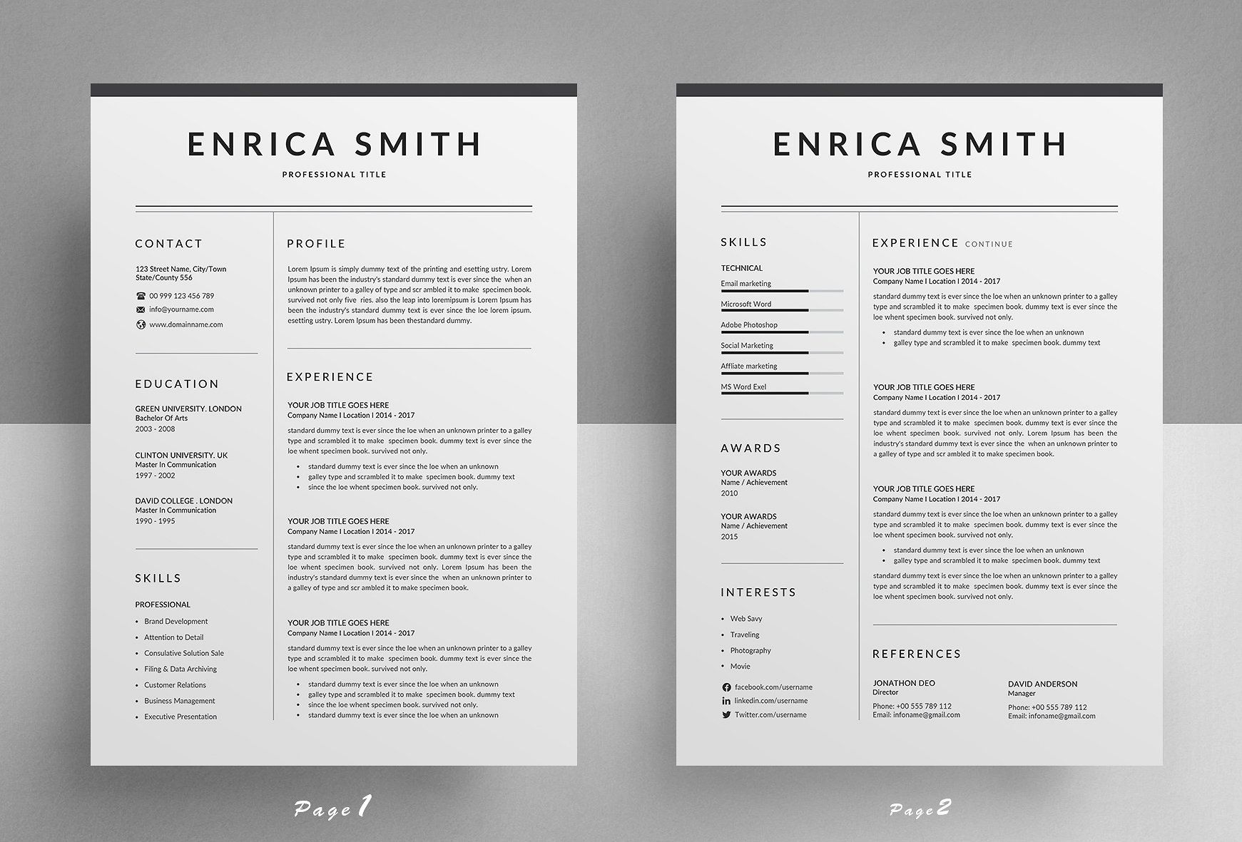 A Simple And Modern 2 Page Resume Template With Matching