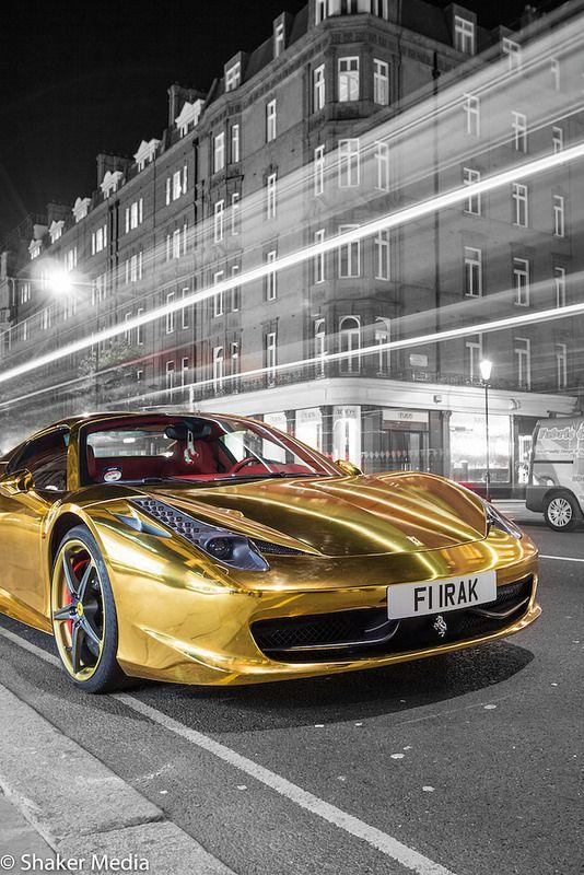 Gold Chrome Ferrari 458 Spyder Con Imagenes Coches Deportivos