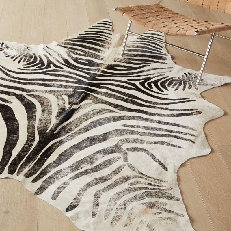 Distressed Faux Zebra Hide Rug 5 X8