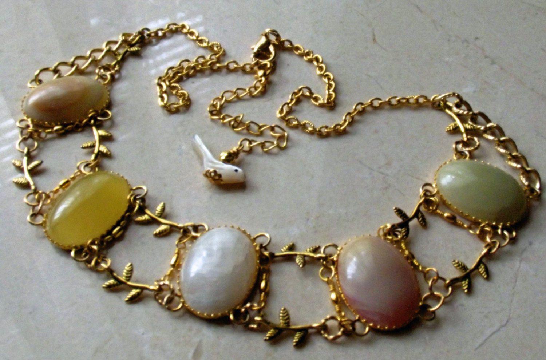 Necklace handmade large agate oval gemstone cabochons leaf design