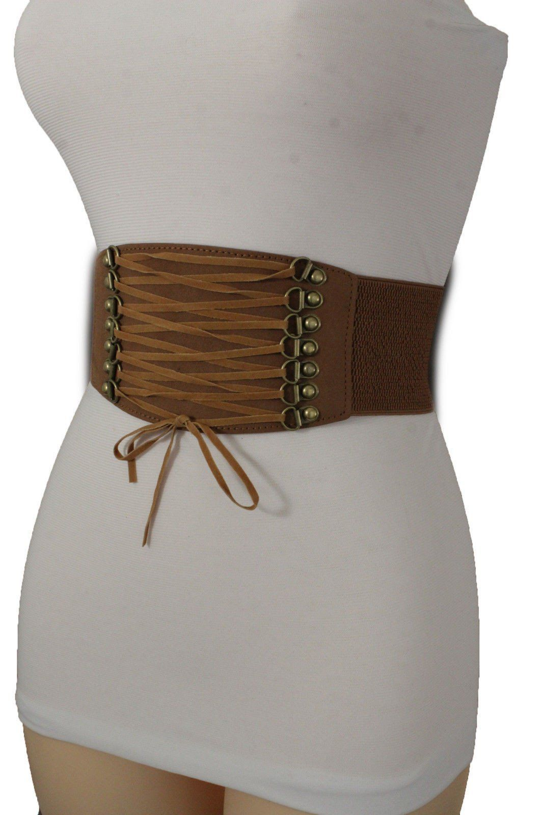 3bbb80179dd Brown Black Pink Red Faux Leather Elastic Band Wide Corset Belt Tie ...