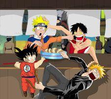 Goku Luffy Naruto Zaraki By Sekroll123 On Deviantart Anime Funny Anime Bleach Anime