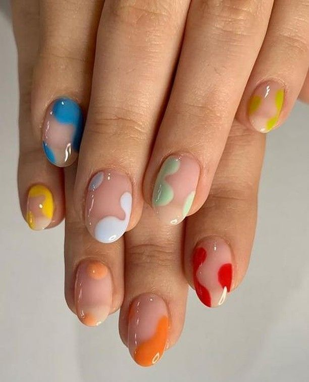 """@oreliajewellery's Instagram post: """"Absolutely obsessing over the abstract nail art trend. Check out this rainbow look by @bymizzblac. Show us your at home manis, we can't get…"""""""