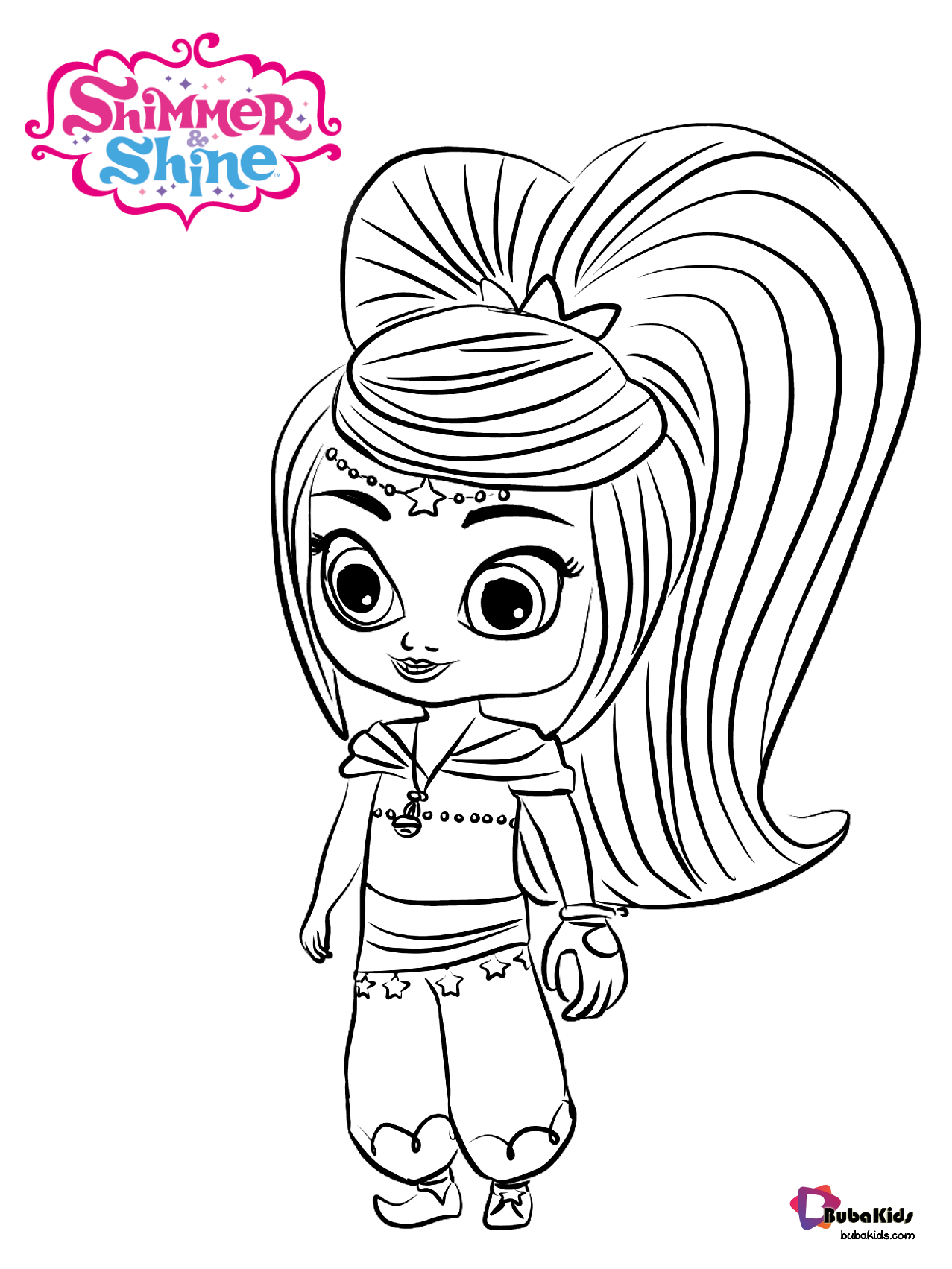 Leah Genie From Shimmer And Shine Coloring Page Collection Of Cartoon Coloring Pages For Teenage Printab Coloring Pages Coloring Pages To Print Coloring Books