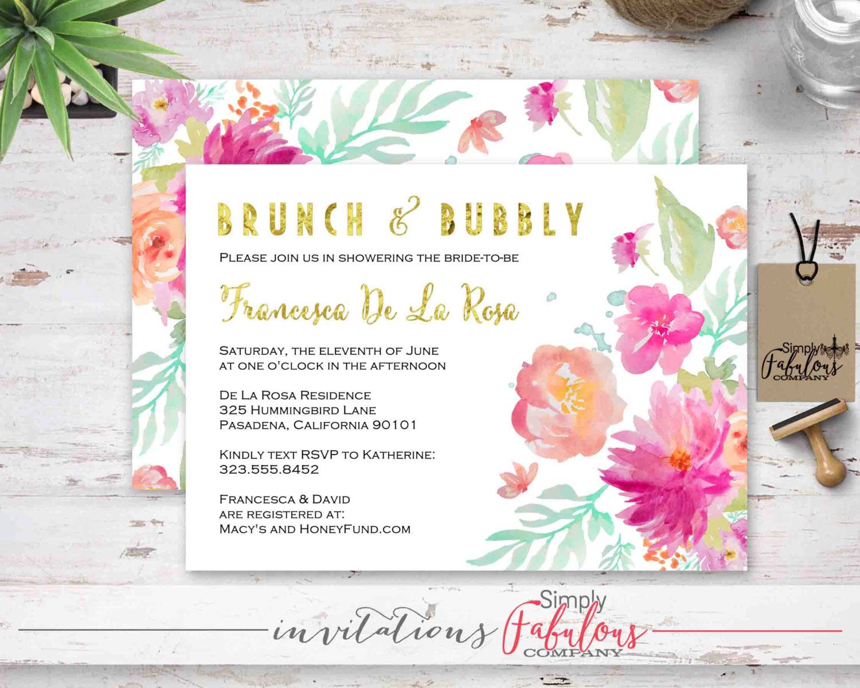 Elegant Faux Gold Watercolor Floral Bridal Shower Invitation