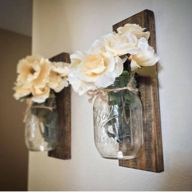 Mason jar wall decorgray home decor coutnry chichanging sconcemason sconce rustic housewarming  cutedecor also rh pinterest