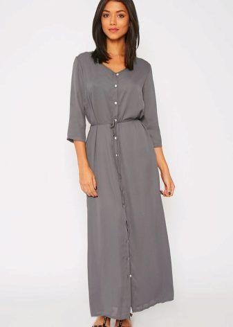 ca0c05550362 Длинное платье-рубашка 2017 (53 фото)  в пол, макси, в полоску, в клетку, с  длинным рукавом, с чем носить, джинсовое