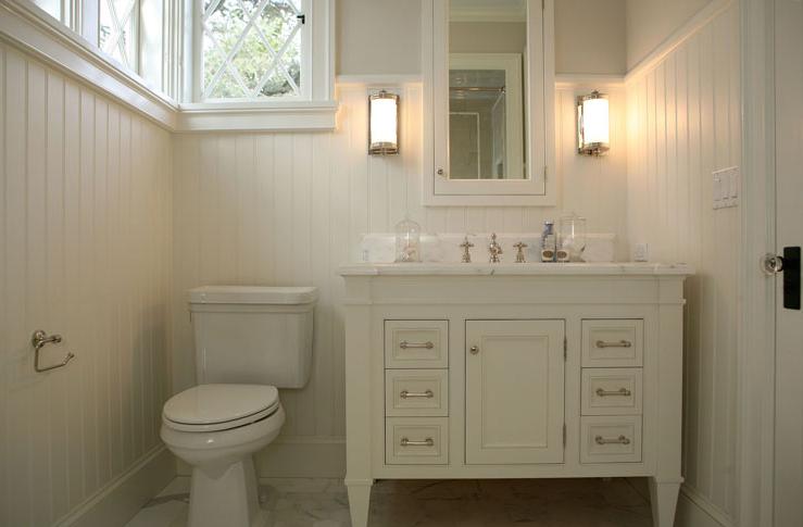 Cream Bathroom Vanity Cottage Bathroom Giannetti Home Guest Bathroom Design White Bathroom Designs Beadboard Bathroom