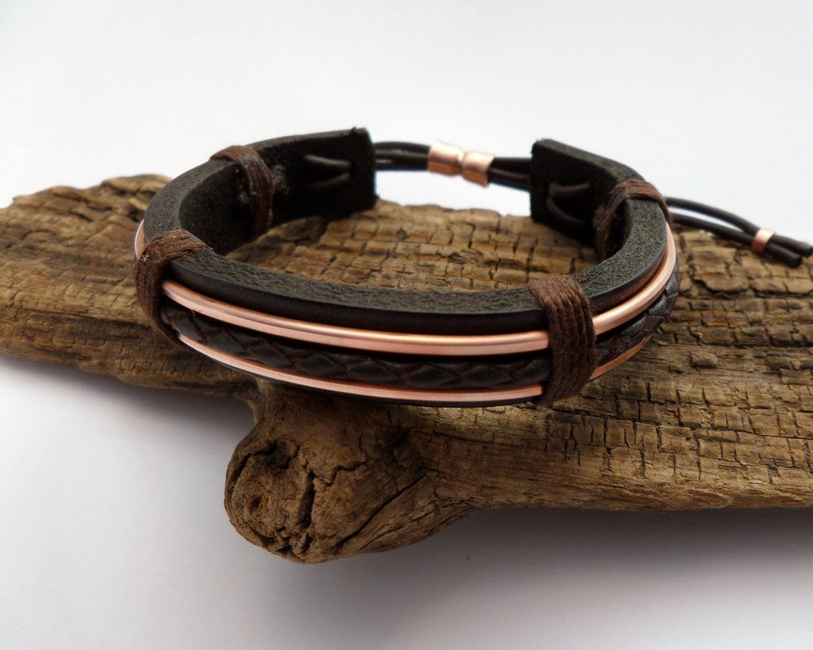 Braided leather and copper bracelet 7th anniversary gift