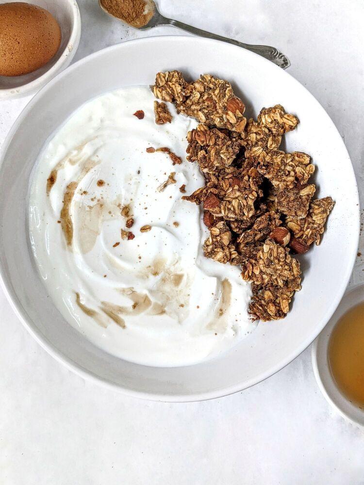 Crunchy maple cinnamon egg white granola no oil in 2020