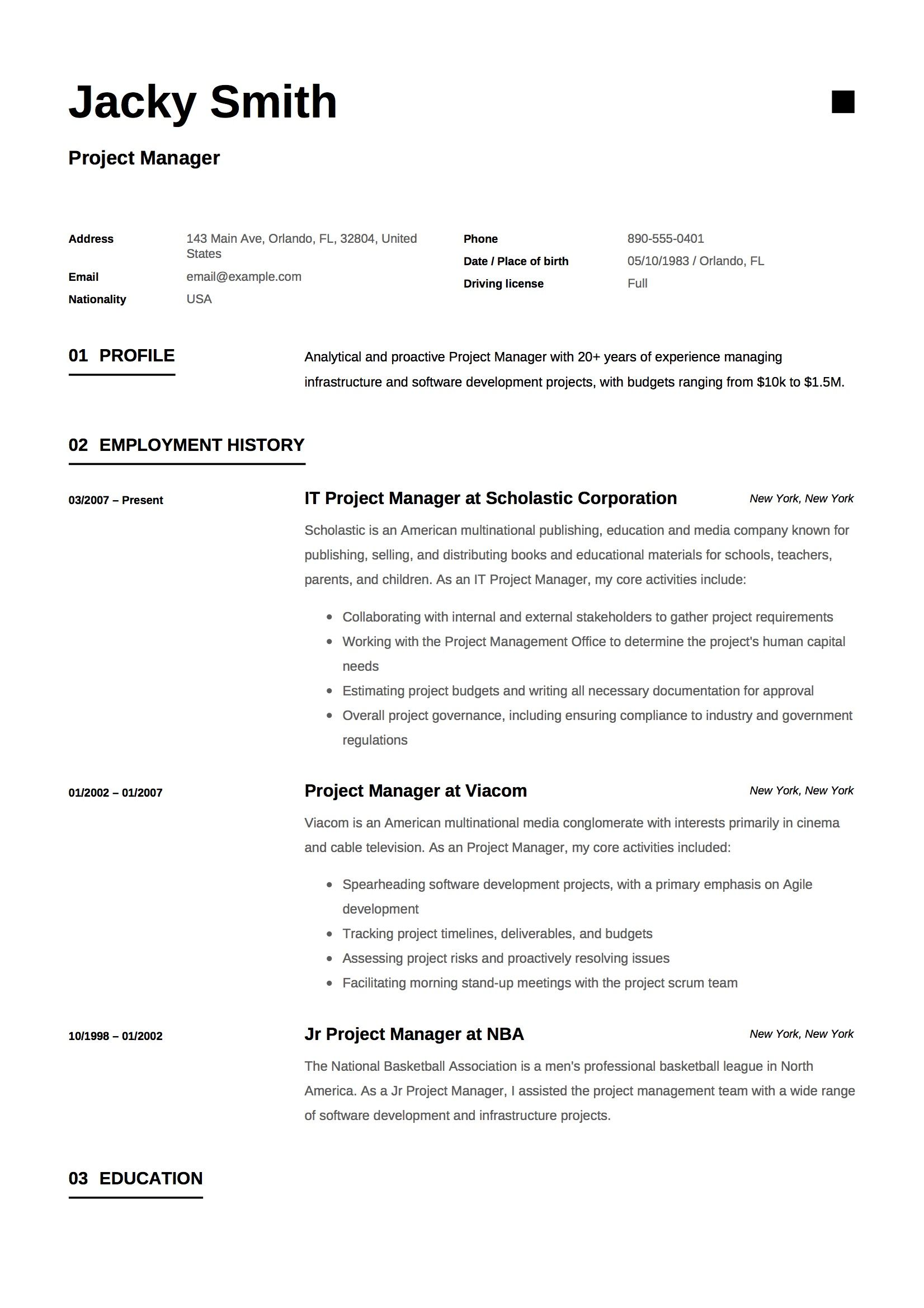 Project Manager Resume & Guide Project manager resume