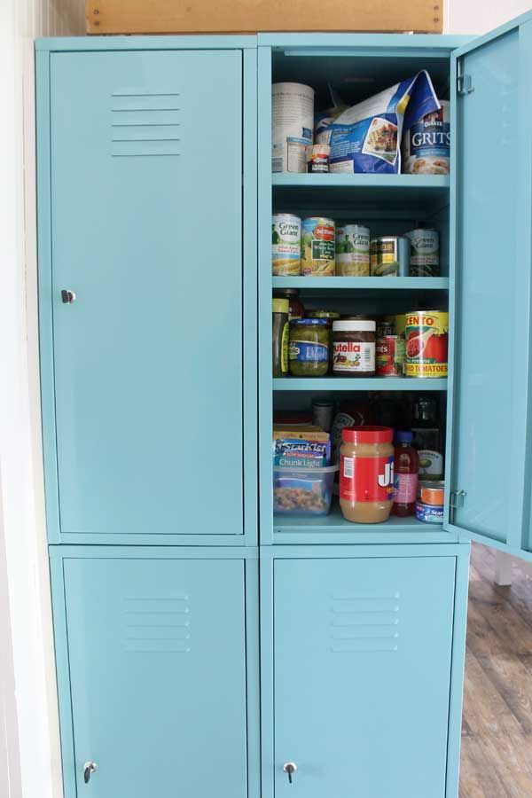 Work Some Crafty Magic To Create The Quirky Pantry Of Your Dreams By  Repurposing A Set Of Lockers.