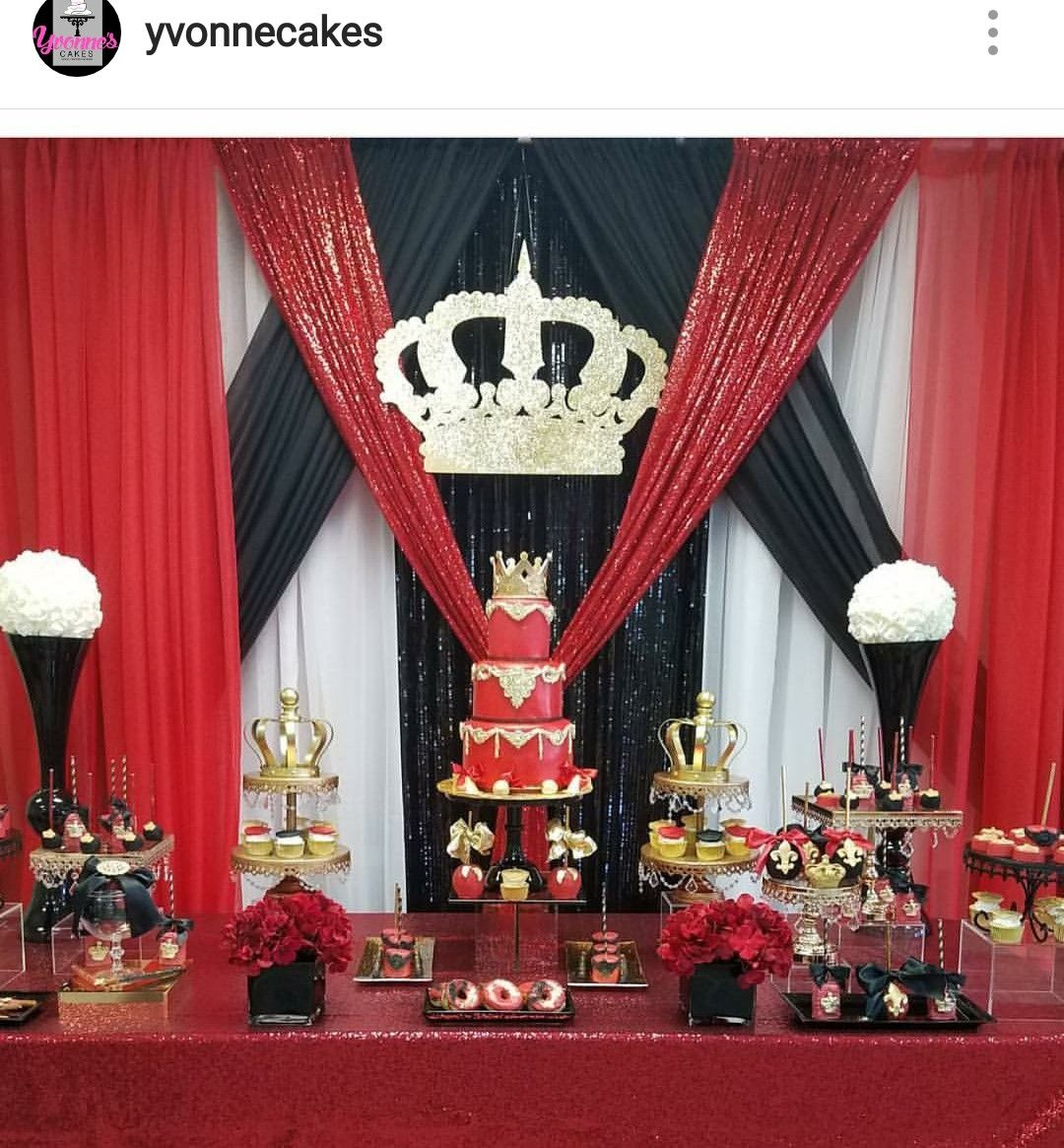 Crown Prince Burgandy and Gold Birthday Banner Party Backdrop Decoration
