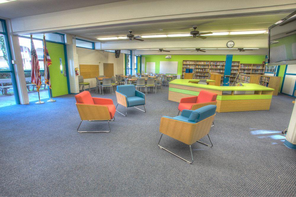 Elementary school media center hi reverie design for Junior room decor ideas