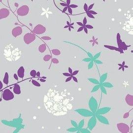 Tissu enduit coton Volubilis violet