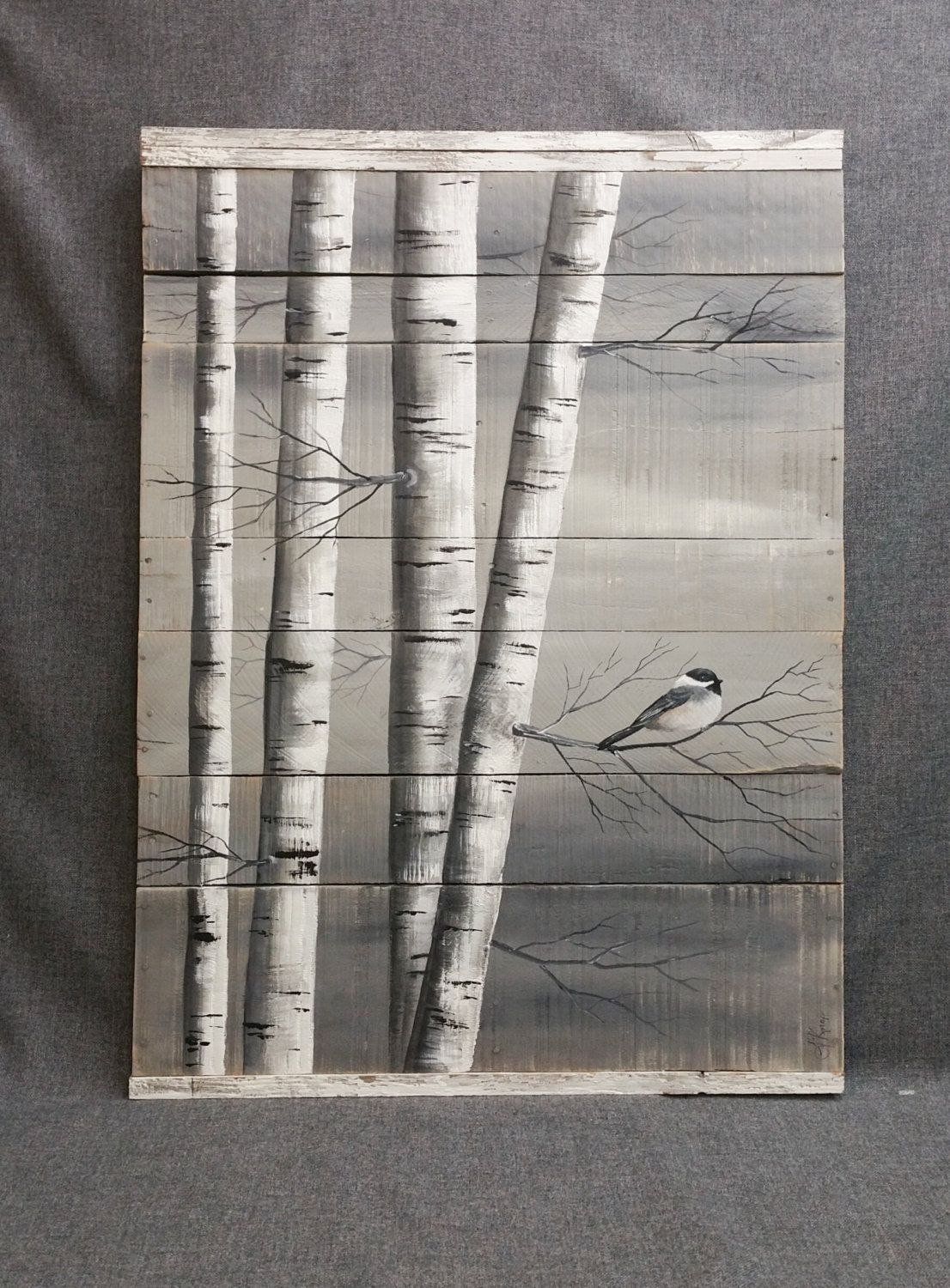 gray pallet art white birch painting large distressed reclaimed