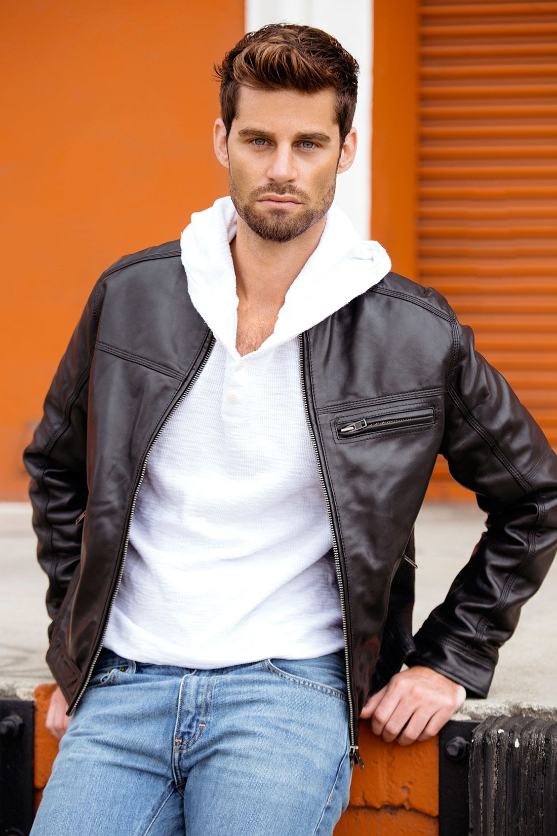 Designer Biker Black Leather Jacket Mens Genuine Leather