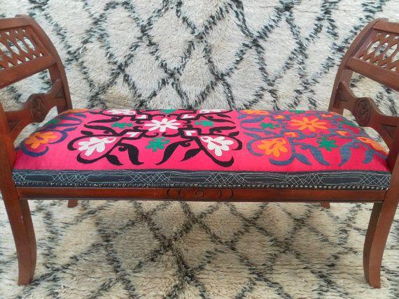 Vintage Bench upholstered in Vintage Silk Suzani by KocoBoutique, £350.00