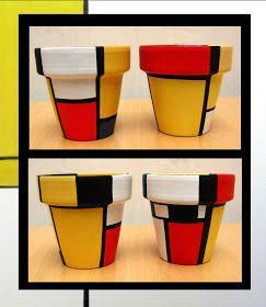 PyUma Macetas pintadas: Macetas Mondrian