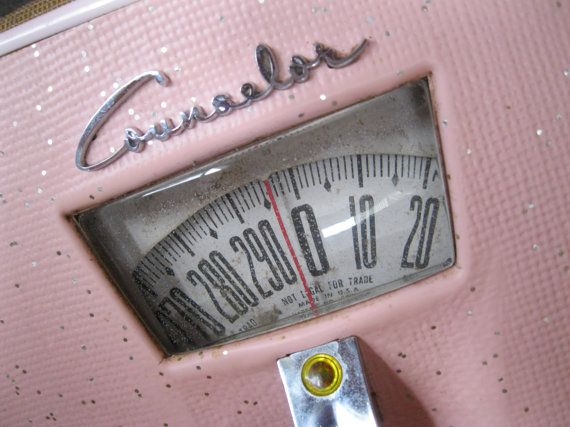 Retro Pink Sparkly Scale Counselor Vintage Bathroom Scale