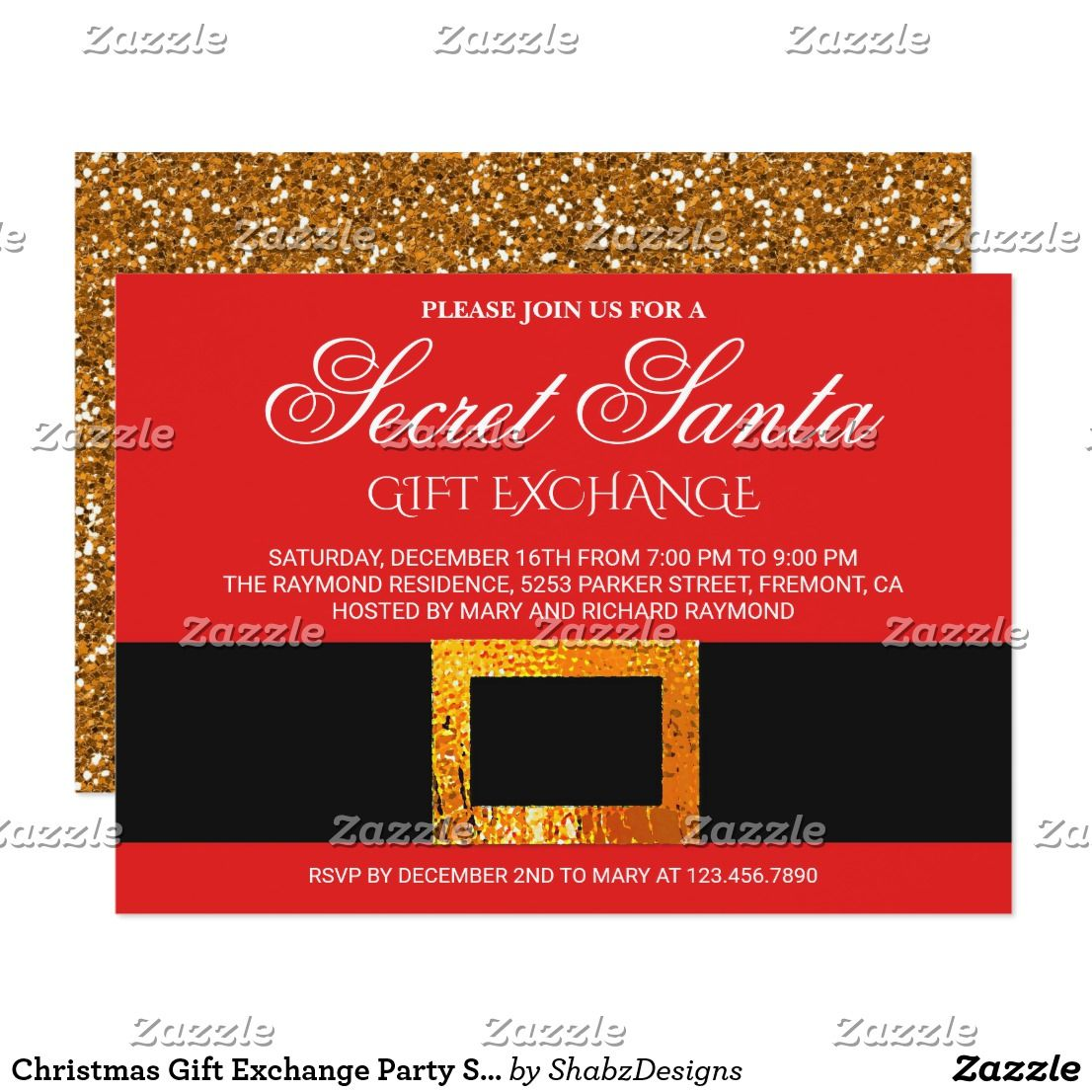 Christmas Gift Exchange Party Secret Santa Invite Invite your guests ...
