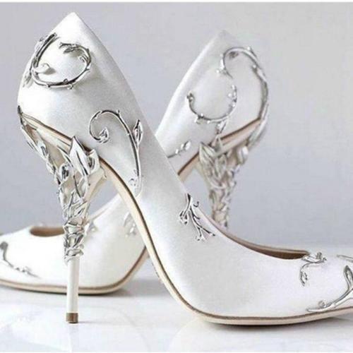 Womens high heel metal decor pointed toe shoes wedding pumps night club A64  Womens high heel metal decor pointed toe shoes wedding pumps night club A64