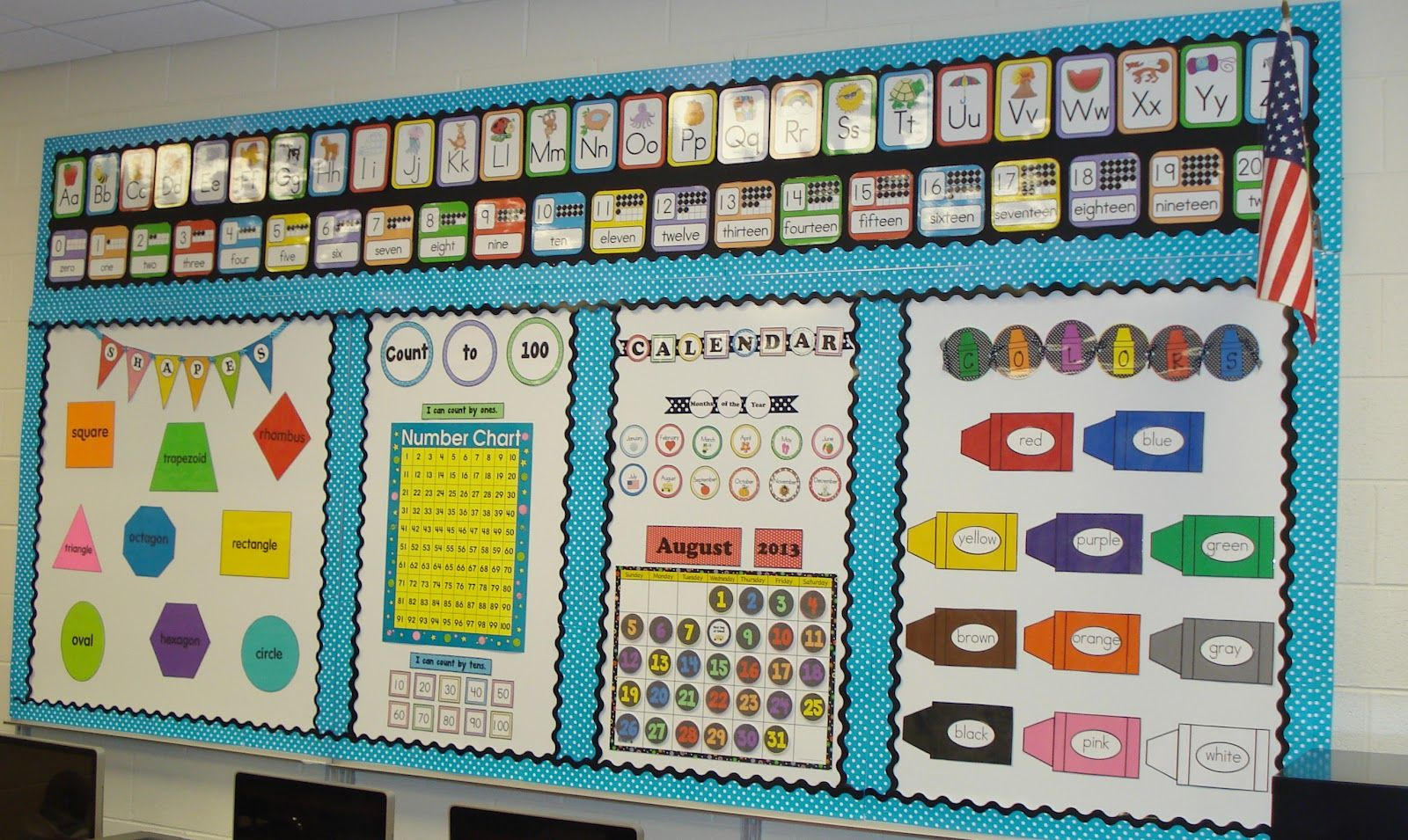Classroom Chalkboard Ideas ~ Love separated sections on the large bulletin board or
