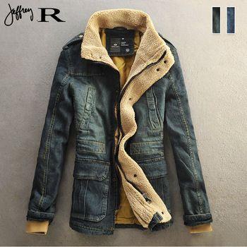 3b706feac95 мужские Ретро мото байкер меховой воротник джинсовой джинсовая куртка пальто  траншеи пиджаки проложенный
