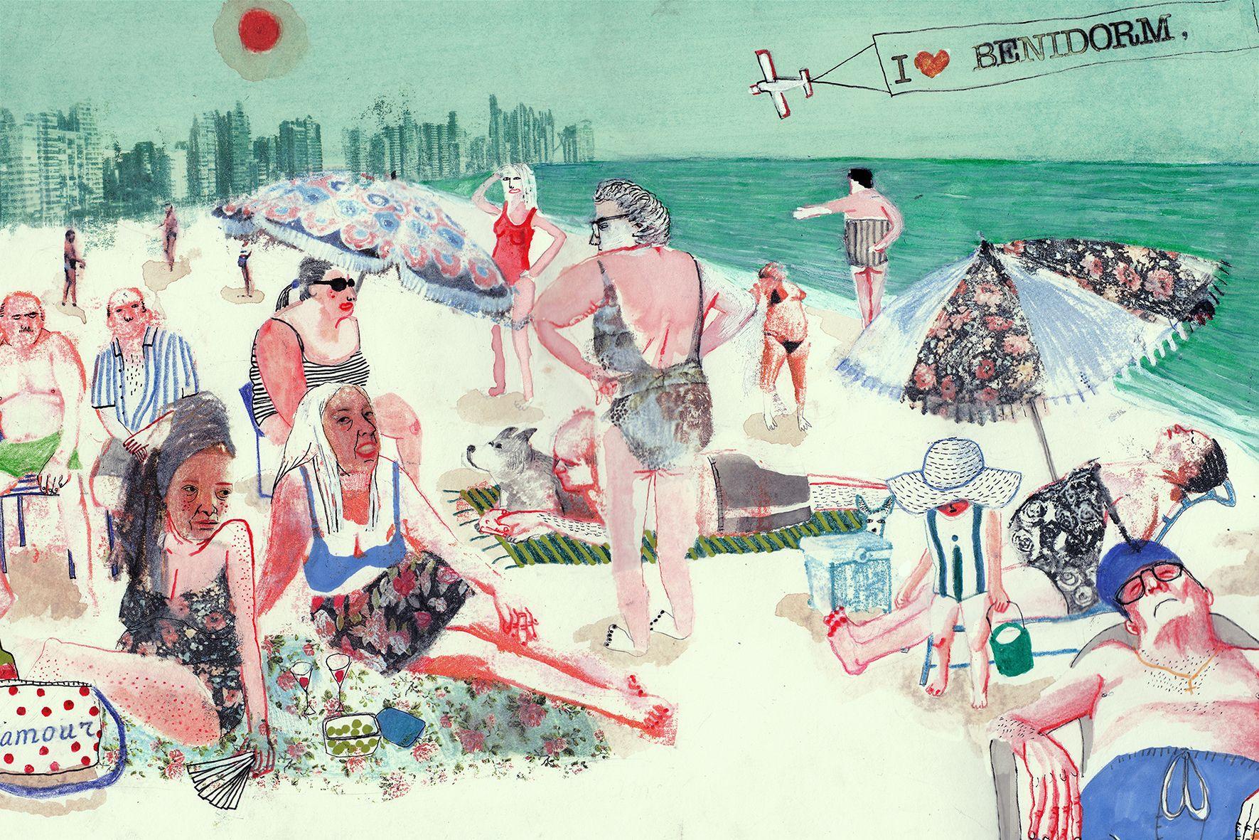 Ana Penyas -Mis vecinos- Serie de ilustraciones que reflexionan sobre diferentes aspectos de la sociedad española como el tejido social en los barrios, la juventud precaria, el turismo mainstream, etc.