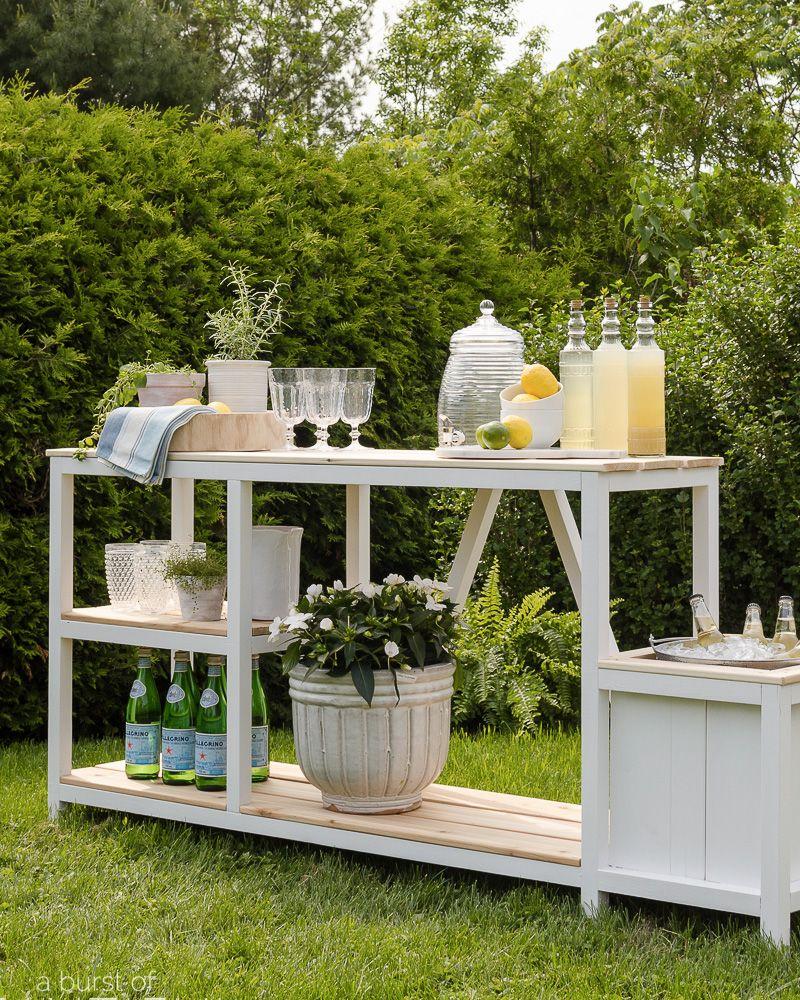 Une Desserte Diy Dans Votre Jardin Diy Meubles De Jardin Bar En Plein Air Mobilier Exterieur Diy