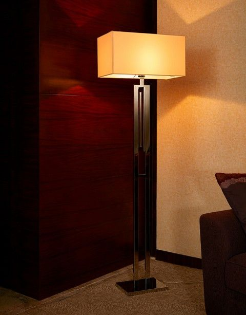 Stainless steel polished with fabric shade floor lamp for home stainless steel polished with fabric shade floor lamp for home hotelliving room and aloadofball Images