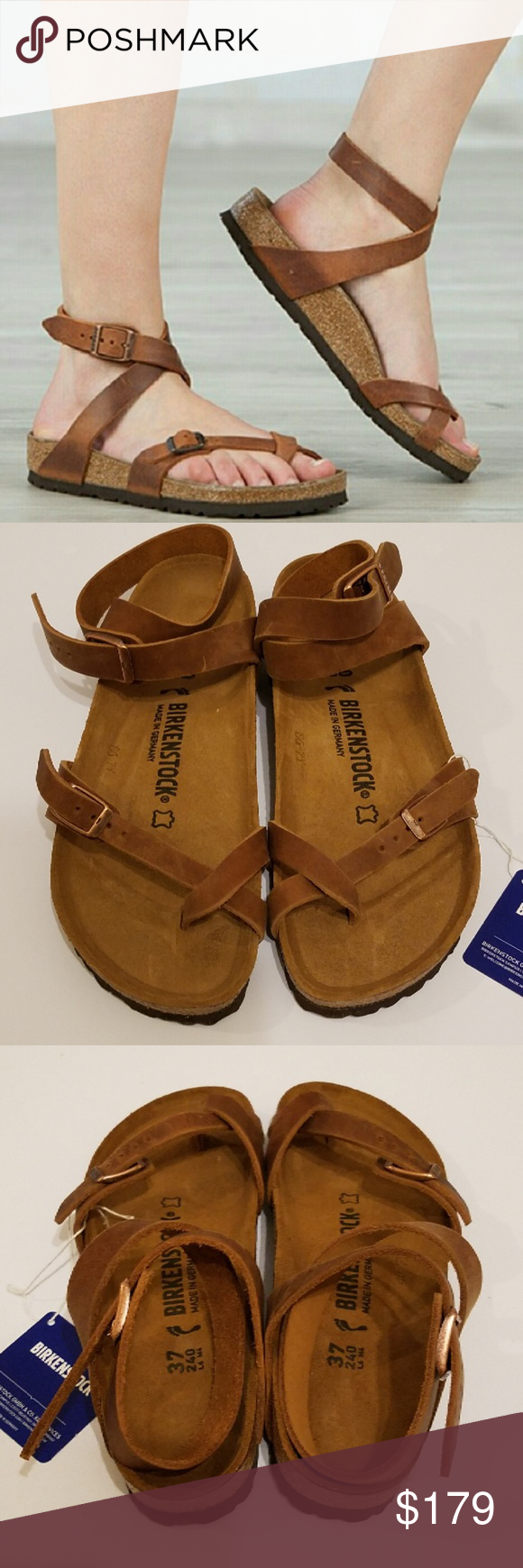 2fc0347b5262 New Birkenstock Yara Antique Brown Sandals 37 Brand New Birkenstock Yara  Antique Brown Leather Sandals. Size 37 Narrow. Very rare color!